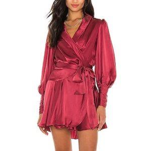Wrap Mini Dress in Burgundy